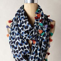 Quilted Ikat Scarf by Anthropologie Blue Motif One Size Bedding
