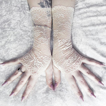 Stasya Lace Fingerless Gloves - Champagne Ivory Cream French Floral - Wedding Gothic Regency Tribal Nude Austen Bridal Fetish Gypsy Mori