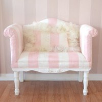 Darling Pink and White Striped Microsuede Bench Loveseat