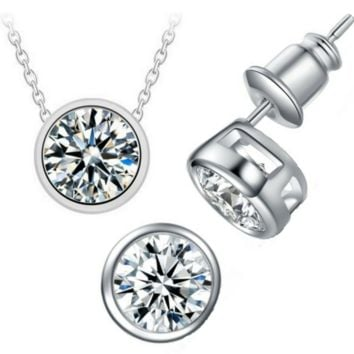 Bezel Duo 2CT IOBI Crystals Set On 14K White Gold Plated Matching Necklace and Earrings Set for Women Special Occasion Everyday Wear