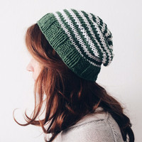 Striped Knit Hat, Cotton Beanie, Slouchy Hipster Beanie, Summer Hat, Gift for Girlfriend