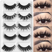 5 Pairs Multipack  3D Soft Mink Hair False Eyelashes  Wispy Fluffy Long Lashes Natural Eye Makeup Faux Eye Lashes