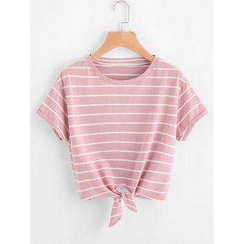 Leading The Troops II Striped Tee - Pink