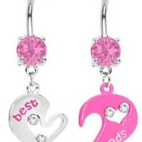 Pink & Silver Abstact Heart Best Friends Friend dangle set Belly Ring - 316L Implant Grade Surgical Steel 14g 14 gauge- Sold as a Set