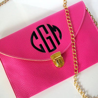Monogrammed envelope clutch crossbody purse, choose your color and monogram style.