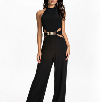 Black Cutout Halter Jumpsuit