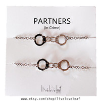 NEW  Rhodium plated Handcuffs matching Partners in crime Bracelets - Silver tone Handcuffs handcuff charm bracelet,  BFF jewelry Christmas