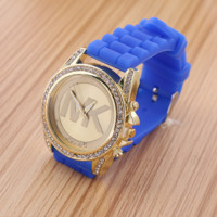 MK Ladies Watch Stylish Candy-colored silicone watches Korean Fashion Bracelet Watch