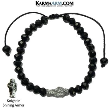 KNIGHT IN SHINING ARMOR | Black Onyx Adjustable Reiki Meditation Pull Tie Bracelet