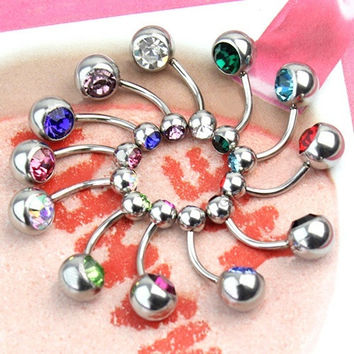 Simple Trendy 12pcs Women's 316L Surgical Steel Crystal Belly Button Navel Stud Bar Ring Piercing Jewelry WTU(With Thanksgiving&Christmas Gift Box) (Size: One Size, Color: Multicolor) = 4804841348