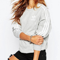 """Adidas""Fashion Letter Print Round Neck Top Sweater Pullover Sweatshirt"