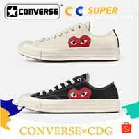 Converse 1970s Play Cdg Shoes Heart Women Men Casual Low-top Sneaker Black& White