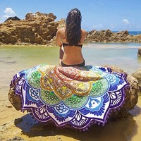 Indian Mandala Round Tapestry Wall Hanging Beach Throw Towel Boho Printed Yoga Mat Blanket Table Cloth Home Decoration 150cm