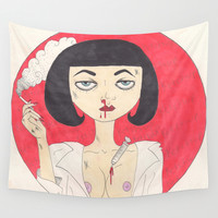 Mia Wallace (Pulp Fiction) Wall Tapestry by LoveCats | Society6