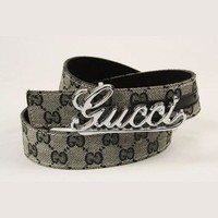 GUCCI Woman Men Trending Grey Print Smooth Buckle Leather Belt I