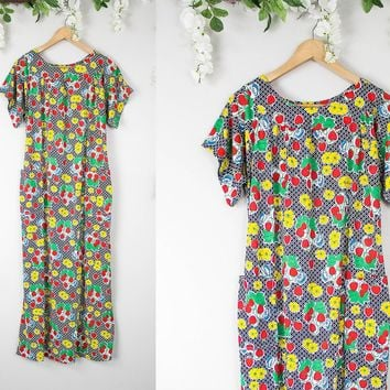 Vintage Strawberry Floral Maxi Dress