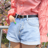 Belted Roll-Up Cuff Denim Shorts