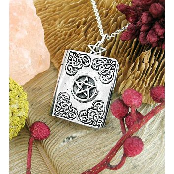 Book of Shadows With Pentacle Locket Pendant
