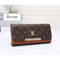 Louis Vuitton LV Women Leather Zip Wallet Purse