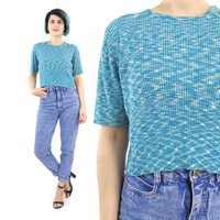 70s 80s Space Knit Sweater Top Turquoise Blue Short Sleeve Sweater Stretchy Ribbed Knit Crop Top Cropped Sweater Space Dye Jumper (S/M/L)