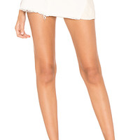 Free People Patched Denim Mini Skirt in Ivory | REVOLVE