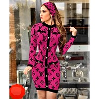 Louis Vuitton LV  Fashion Long Sleeve Bodycon Dress