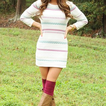 Memories On The Wall Sweater Dress: Multi