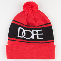 Dope Logo Pom Beanie Red Combo One Size For Men 23419034901