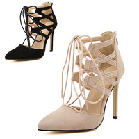 Star Style Socialite Women Sexy High Heel Summer Shoes Sandals Woman Cutout Lace Up Pointed Toe Party Shoes Pumps 200-1