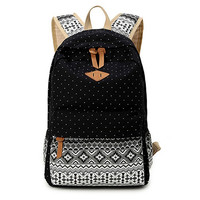 Black Polka Dots Backpack for College Bookbag