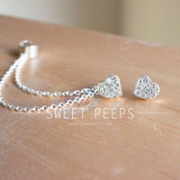 Heart Rhinestone Stud Ear Cuff with Silver Chainmaille