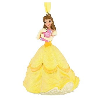 Disney Parks Belle with Book 3D Glitter Christmas Ornament New with Tags