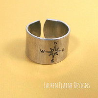 Compass Hand Stamped Aluminum Ring