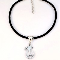 Silver Peace Sign and Dove Choker