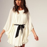 [out of stock] River Island   River Island Blouson Pleat Dress With Belt at ASOS
