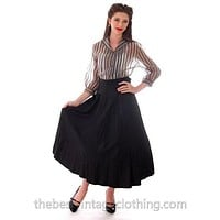 "Vintage Black Taffeta Full Skirt 1940s 29"" Waist"