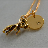 Personalized Aries Necklace, Zodiac Necklace, Aries Jewelry, Initial charm necklace, Personalized, Aries charm, monogram, zodiac jewelry