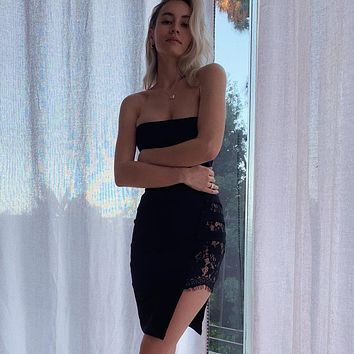 BKLD Off The Shoulder Sexy Side Slit Women Tube Dress Lace Patchwork Bodycon Summer See through Mini Dress Strapless Party Dress