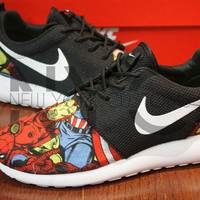 Nike Roshe Run Black Marvel Superheroes V5 Edition Custom Men & Women