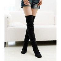 High quality women shoes fashion Pointed Toe Nubuck Leather boots Over-the-Knee Slip-On high thin heels long boots for women