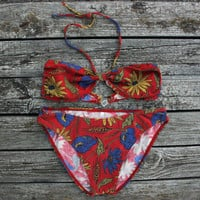 NOS Red Floral Bikini / New Old Stock 1990's Vintage Halter Top + Briefs Set / Jersey Swimming Suit, Blue Flowers, Wheat Print / Size: SMALL