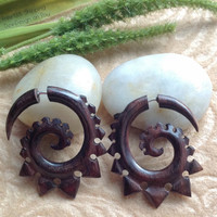 """Fake Gauge Earrings, """"Spiked Spirals"""" Natural, Wood, Handcrafted, Tribal"""