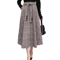 Winter Vintage Wool Skirt Womens Elegant Ladies Slim A-Line High Waist Thick Swing Maxi Long Plaid Skirts with Sash