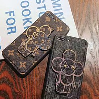 LV Louis Vuitton Fashion New Monogram Print Leather Women Men Protective Case Phone Case