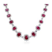 The Hollywood Red Carpet Ruby Red Color CZ Necklace