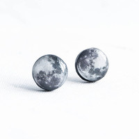 Moon earrings studs - Astronomy jewelry, space post earrings, cosmic small stud earrings, full moon