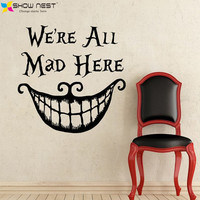 """2016 Alice In Wonderland Wall Decal Quote Cheshire Cat Sayings """"We're All Mad Here"""" Vinyl Decals Nursery Wall Sticker Home Decor"""