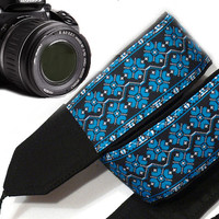 Dslr Camera Strap. Ethnic Camera Strap.  Blue Camera Strap. Accessories