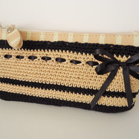 Beige Bag, Cosmetic Case, Pencil  Case, Female Bag, Handmade Bag, Crocheted Bag, Gift for her.