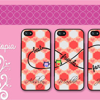 3 iPhone 5/5S, iPhone 5c, iPhone 4 4s, Samsung Galaxy S3 S4 case cute owl heart artisan frame Best friends Forever BFF Protective Cases